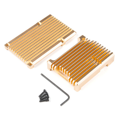 Aluminum Heatsink Case for Raspberry Pi 4 - Gold